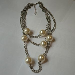 Layered imitation pearls long necklace